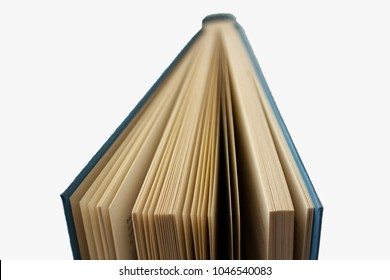 Open book over white background, horizontal image