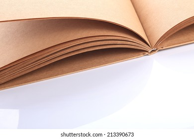 open book paper blank rough texture on white table