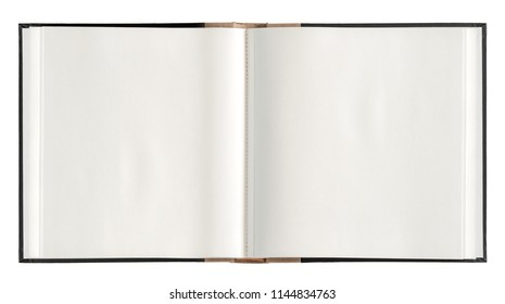 Open book paper pages isolated on white background