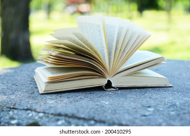 Open book in park outdoors