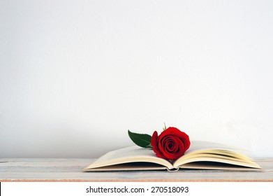 An open book with a red rose flower on it. White background.