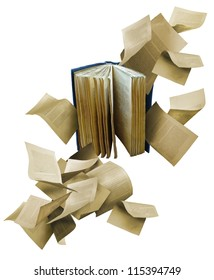 Open book with scattered flying pages