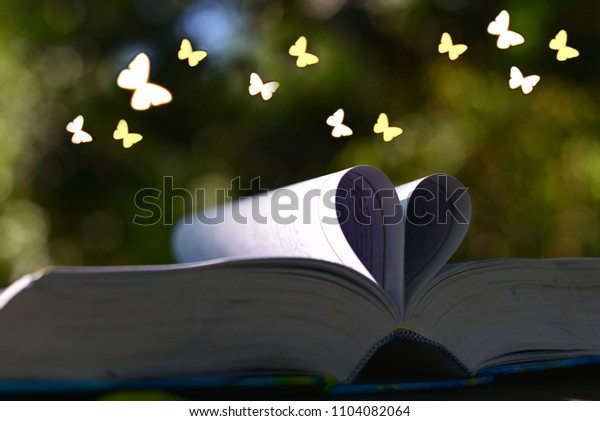 Open book shape heart with abstract shape butterfly.