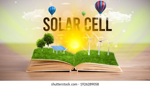 Open book with SOLAR CELL inscription, renewable energy concept