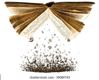open book with spill out characters from it against the white background