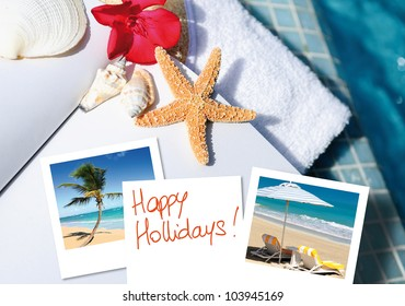 open book with starfish outdoor with swiming pool background