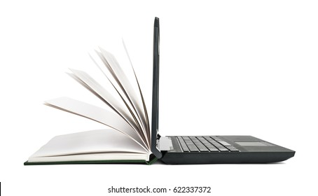 Open book turns into an open laptop. The concept of technology in teaching or reading
