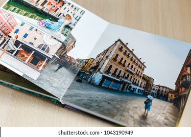 Open book with venice image photobook