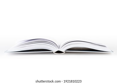 Open book with white cover isolated background