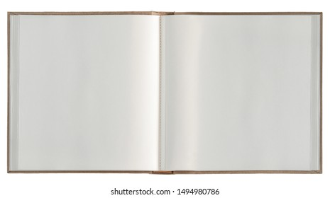 Open book white paper pages isolated. Photo album. Sketchbook