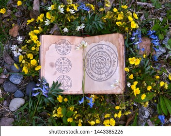 Open book with wiccan festivals and magic charts in grass and flowers. Wicca, esoteric, divination and occult concept with magic objects for mystic rituals, Halloween, Beltane background