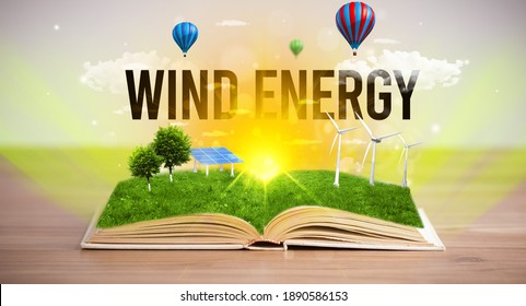 Open book with WIND ENERGY inscription, renewable energy concept