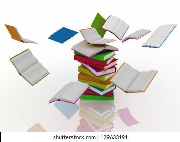 open books revolve around a stack of books