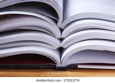 open books stack close up