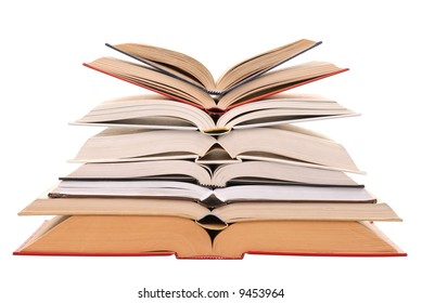 Open books stack isolated on white background