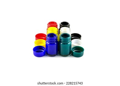 Open bottles poster color isolated on white background