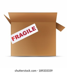 Open box with fragile sign over white background