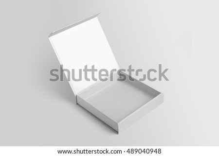 Open Box Template Mock Up On Gray Background