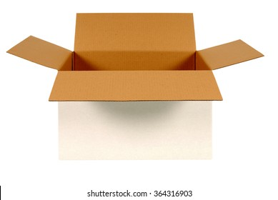 Open box, white cardboard, brown inside, isolated