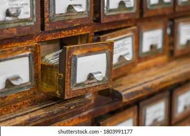 Open box of wooden vintage card file with blank space for text.