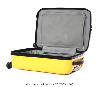 Open bright yellow suitcase on white background