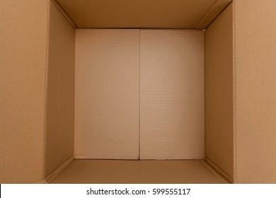 Open brown card board box