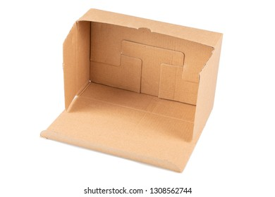 open brown carton box container isolated on white background