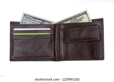 open  brown  leather wallet with cash  dollars isolated