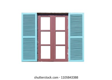 Open brown wood window isolated on white background
