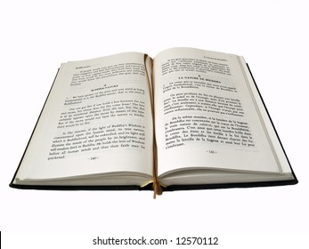 Open buddhist book with bookmark isolated on white