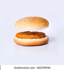 Open burger bun fat food