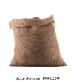 Open burlap bag isolated on white. Organic material