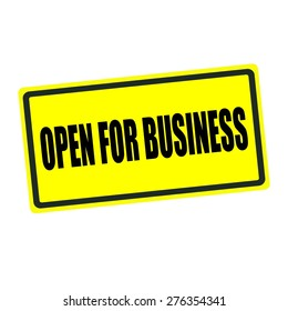 Open for business back stamp text on yellow background