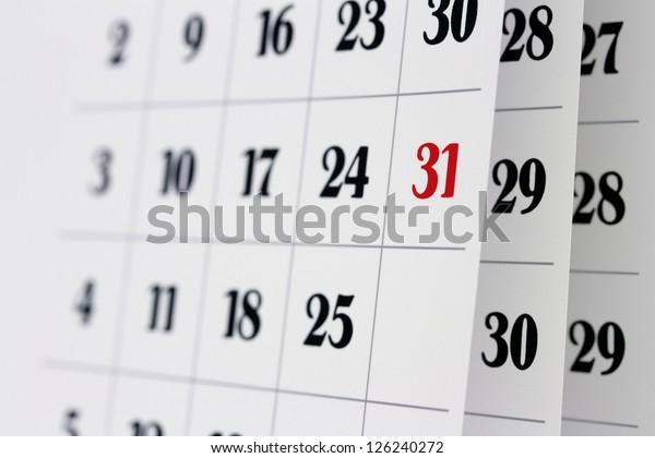 Open calendar pages, closeup