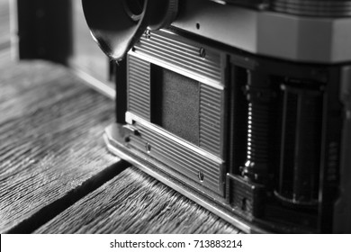 An open camera of an old camera on a small format 18x24 film