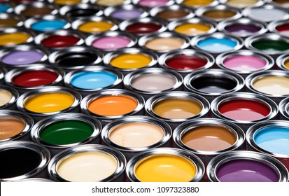 Open cans of paint