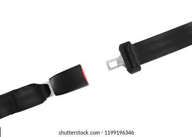 Open car safety seat belt on white background, top view