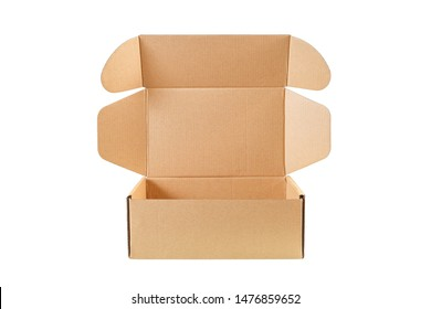 Open cardboard box or Brown corrugated carton box   isolated on white background with clipping path included.