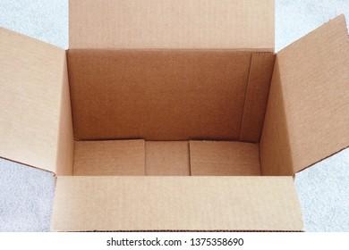 Open cardboard box. Close up.