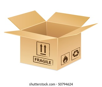 Open cardboard box icon for delivery, transportation or moving day idea.