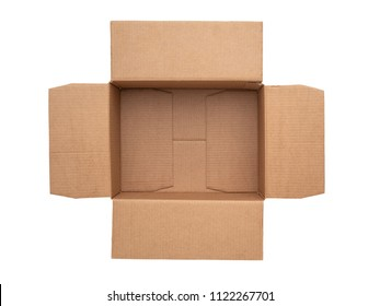 Open cardboard box isolated on white background. Top view.