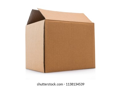 Open cardboard box isolated on a white background with clipping path.
