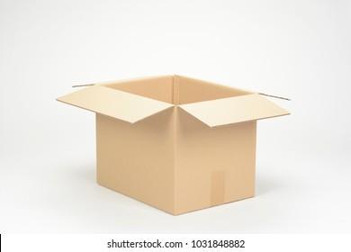 An open cardboard box on white bakcground