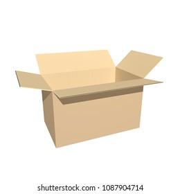 open cardboard box on white. 3d rendering.