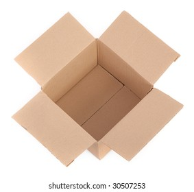open cardboard box on white background -top view