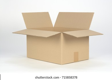 Open cardboard box on a white background