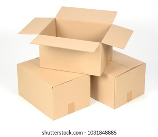 Open cardboard boxes on white background