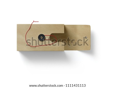 Open Cardboard Business Card Holder With A Red Thread And Clasp On White Background