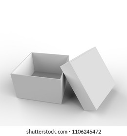 Open carton cardboard paper box white color isolated on white background. 3d illustration