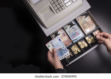 Open cash register euro